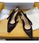 Женские туфли-слингбэки Christian Dior (Кристиан Диор)  J`Dior каблук 6,5см c бисером с открытой пяткой Black