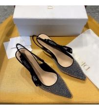Женские туфли-слингбэки Christian Dior (Кристиан Диор)  J`Dior каблук 6,5см из стразов с открытой пяткой Black