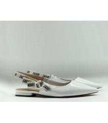 """Женские балетки Christian Dior (Кристиан Диор) """"J`Dior """" кожа лаковая с открытой пяткой White"""