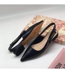 Балетки женские Christian Dior (Кристиан Диор) J`Dior кожаные летние каблук 0,5см Black