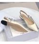 Балетки женские Christian Dior (Кристиан Диор) J`Dior кожаные летние каблук 0,5см White