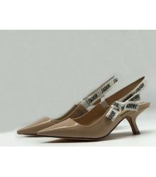 """Женские туфли Christian Dior (Кристиан Диор) """"J`Dior """" кожаные с открытой пяткой Beige"""