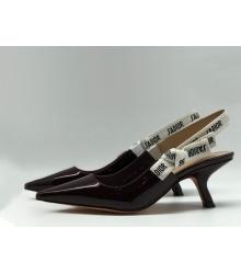 """Женские туфли Christian Dior (Кристиан Диор) """"J`Dior """" кожаные с открытой пяткой Bordo"""