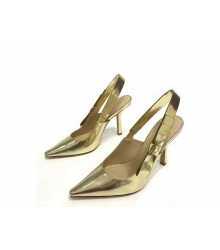 """Женские туфли Christian Dior (Кристиан Диор) """"J`Dior """" кожаные с открытой пяткой Gold"""