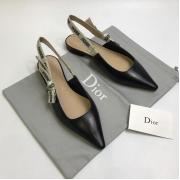 Балетки женские Christian Dior (Кристиан Диор) J`Dior кожаные с открытой пяткой каблук 0,5см Black