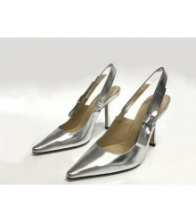 """Женские туфли Christian Dior (Кристиан Диор) """"J`Dior """" кожаные с открытой пяткой Silver"""