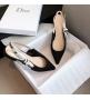 Женские балетки Christian Dior (Кристиан Диор) J`Dior с открытой пяткой каблук 0,5см Black