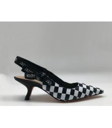"""Женские туфли Christian Dior (Кристиан Диор) """"J`Dior """" кожаные с открытой пяткой White/Black"""