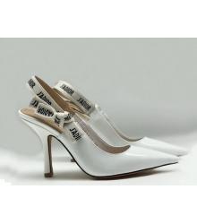 """Женские туфли Christian Dior (Кристиан Диор) """"J`Dior """"шпилька каблук с открытой пяткой White"""