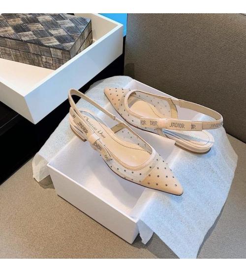 Балетки женские Christian Dior (Кристиан Диор) J`Dior текстиль летние каблук 0,5см Beige