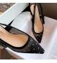 Женские балетки Christian Dior (Кристиан Диор) J`Dior текстиль с открытой пяткой каблук 0,5см Black