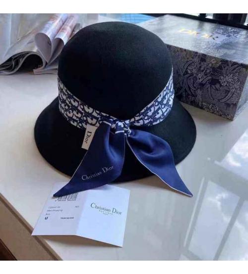 Шляпа ;женская Christian Dior (Кристиан Диор) кашемир с широкими полями Black/Blue