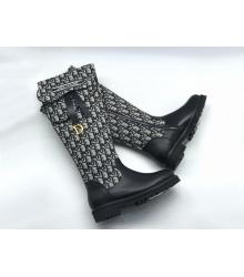 Женские сапоги Christian Dior (Кристиан Диор) комбинированные с молнией Black