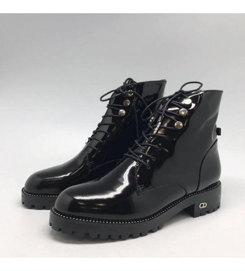 Ботинки женские Christian Dior (Кристиан Диор) кожа лаковая Black