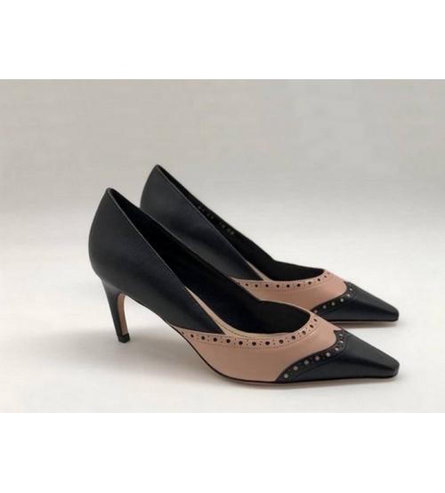 Туфли женские Christian Dior (Кристиан Диор) кожаные на среднем каблуке Black/Beige