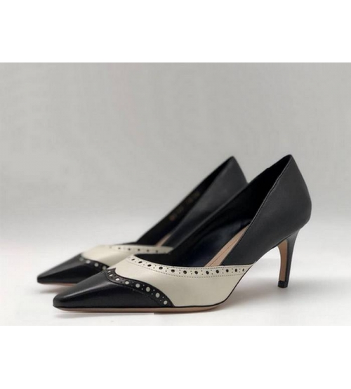 Туфли женские Christian Dior (Кристиан Диор) кожаные на среднем каблуке Black/White