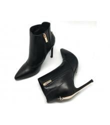 Ботильоны женские Christian Dior (Кристиан Диор) кожаные на высоком каблуке Black