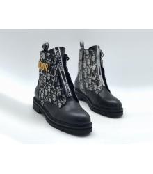 Женские ботинки Christian Dior (Кристиан Диор) кожаные принт логотип Black