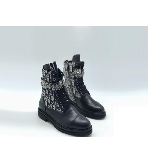 Женские ботинки Christian Dior (Кристиан Диор) кожаные принт логотип на шнуровке Black
