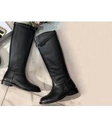 Скидки Женские сапоги Christian Dior (Кристиан Диор) кожаные с заклёпками  Black 028414bc8ea