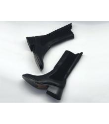 Женские полусапожки Christian Dior (Кристиан Диор) кожаные средний каблук Black