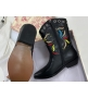Ботильоны женские Christian Dior (Кристиан Диор) LA кожаные каблук скошенный казаки Black
