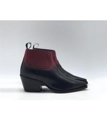 Ботильоны женские Christian Dior (Кристиан Диор) LA кожаные каблук скошенный Black/Bordo