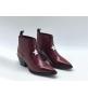 Ботильоны женские Christian Dior (Кристиан Диор) LA кожаные каблук скошенный Bordo