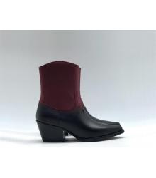 Ботильоны Christian Dior (Кристиан Диор) LA кожаные каблук скошенный казаки Black/Bordo