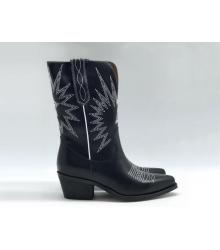 Ботильоны Christian Dior (Кристиан Диор) LA кожаные каблук скошенный казаки Black