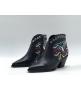 Женские ботильоны Christian Dior (Кристиан Диор) LA кожаные каблук скошенный с принтом Black
