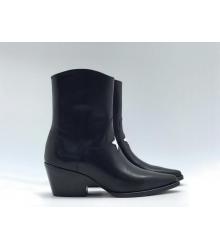 Ботильоны Christian Dior (Кристиан Диор) LA кожаные каблук скошенный со звездой Black
