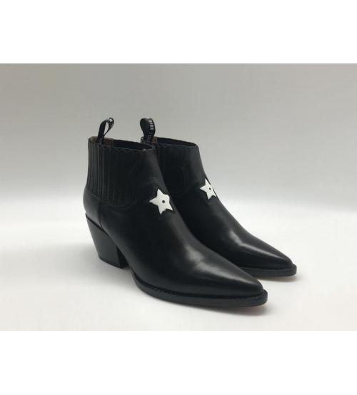 Ботильоны женские Christian Dior (Кристиан Диор) LA кожаные каблук скошенный со звездой Black