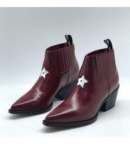 Женские ботильоны Christian Dior (Кристиан Диор) LA кожаные со звездой Bordo