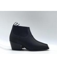 Ботильоны женские Christian Dior (Кристиан Диор) LA кожаные со звездой матовые Black