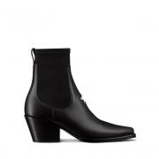 Женские ботильоны Christian Dior (Кристиан Диор) LA кожаные в стиле ковбойских сапог Black