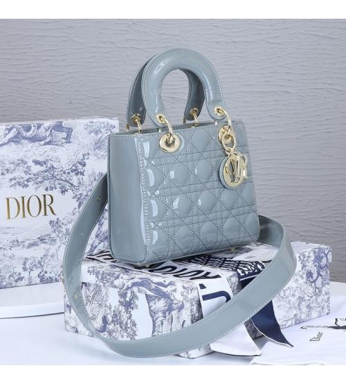 Женская сумка Christian Dior (Кристиан Диор) Lady Dior My ABCDior кожаная Gray