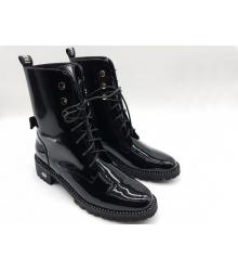 Женские ботинки Christian Dior (Кристиан Диор) лаковая кожа Black