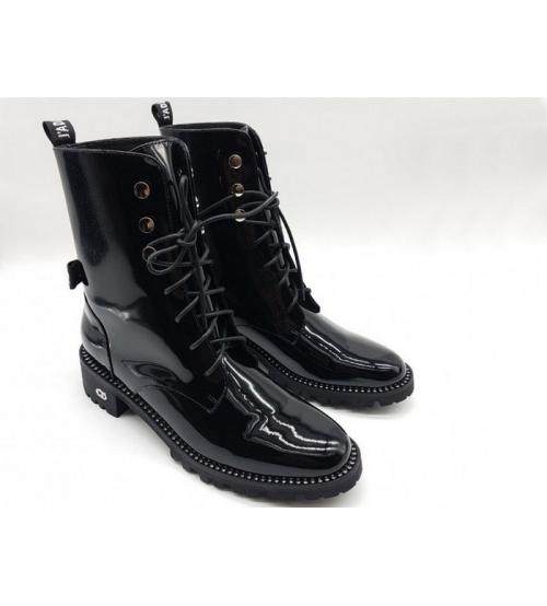 db906f4e9ac0 Женские ботинки Christian Dior (Кристиан Диор) лаковая кожа Black ...