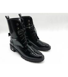 Ботинки зимние женские Christian Dior (Кристиан Диор) лаковая на меху Black