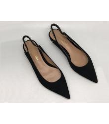 Женские туфли Christian Dior (Кристиан Диор) замшевые с открытой пяткой на низком каблуке Black