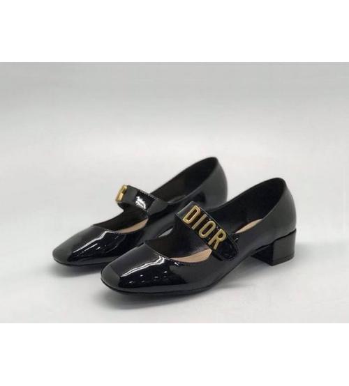 Женские туфли Christian Dior (Кристиан Диор) летние кожа лаковая на среднем каблуке Black