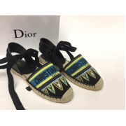 Женские эспадрильи Christian Dior (Кристиан Диор) летние кожаные Black/Blue