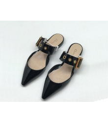 Женские мюли Christian Dior (Кристиан Диор) летние кожаные с ремешком на низком каблуке Black
