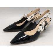 Женские туфли Christian Dior (Кристиан Диор) летние лаковые Black