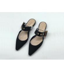 Женские мюли Christian Dior (Кристиан Диор) летние с ремешком на низком каблуке Black