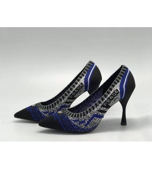"""Женские туфли Christian Dior (Кристиан Диор) """"J`Dior """"  летние текстиль на среднем каблуке Blue/Black"""