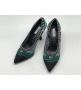 """Женские туфли Christian Dior (Кристиан Диор) """"J`Dior """"  летние текстиль на среднем каблуке Green/Black"""