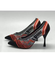 """Женские туфли Christian Dior (Кристиан Диор) """"J`Dior """"  летние текстиль на среднем каблуке Red/Black"""