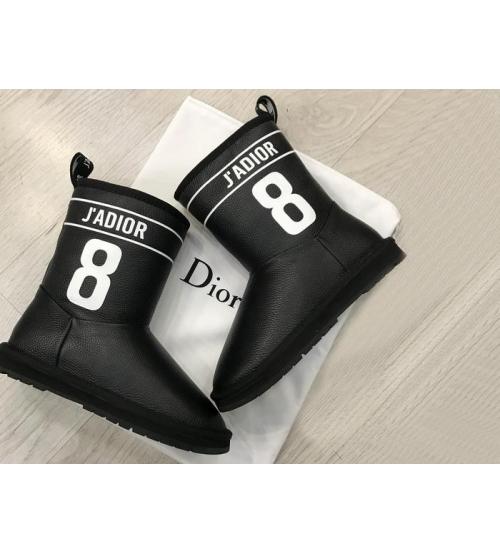 Женские зимние полусапожки Christian Dior (Кристиан Диор) с мехом кожаные Black